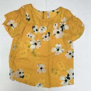 Yellow Floral Xhilaration Blouse